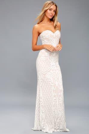 b201ffbd4b Lulus   Love and Devotion White Beaded Maxi Dress   Size 10   100 ...