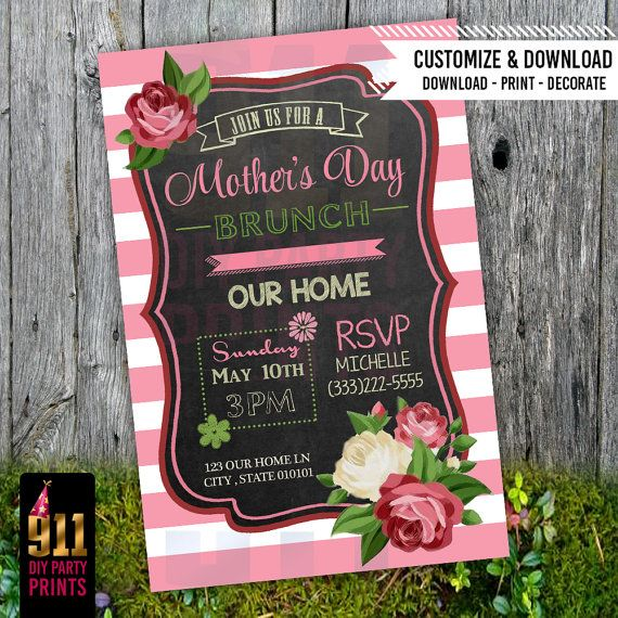 mother 39 s day brunch party invitation pink mothers invitations and mother 39 s day. Black Bedroom Furniture Sets. Home Design Ideas