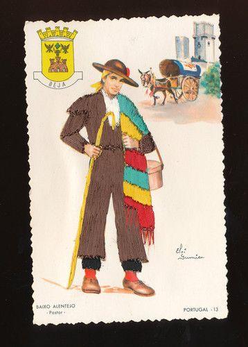 Shepherd Pastor Baixo Alentejo Portugal Silk Embroidered Postcard GGG126 | eBay