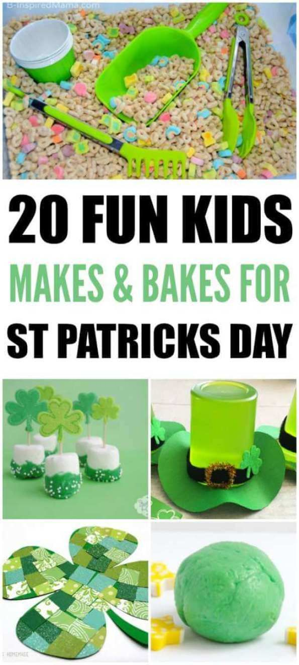 Saint Patricks Day Makes And Bakes Saint Patricks Day is here in March and what better way to celebrate than bake some treats or make an amazing St Patricks Day Craft ideas. #funfoodideas #kidsfood #leprechaun . #leprechaunbark #leprechaunfood #saintpatricksday #preschool #homeschoolbaking #cookwithkids #funfodideas #saintpatricks #shamrock