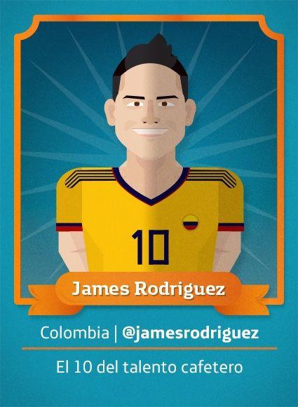 #Ilustracion para #Mundial2014: James Rodriguez, Colombia.