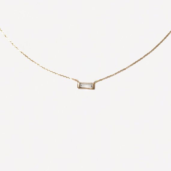 14k Gold 15 Baguette Diamond Necklace by cestsla on Etsy