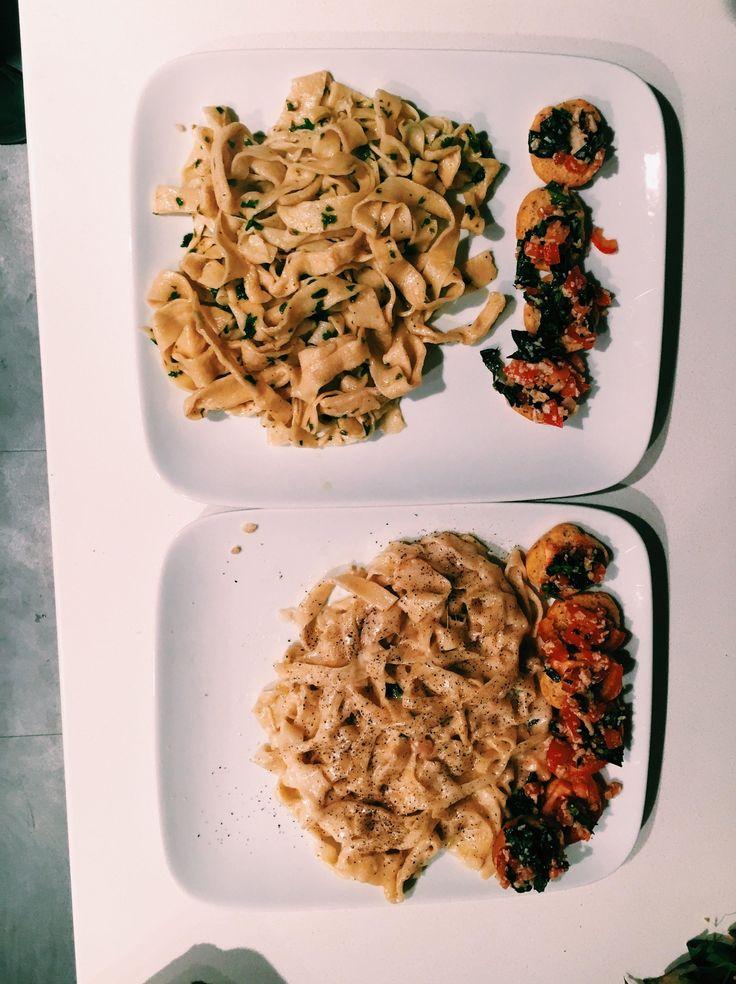 [homemade] Fresh pasta babish style: cacio de pepe (Bottom) and Pasta aglio e olio (top)