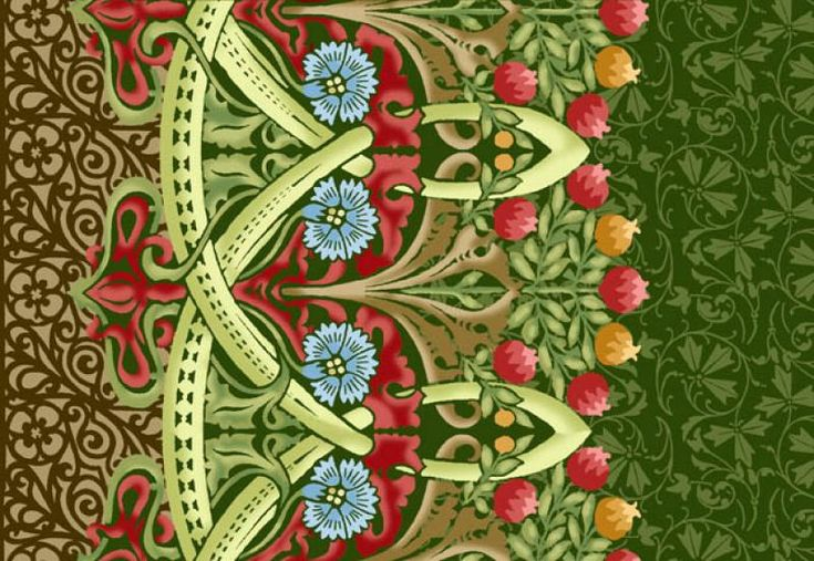 Morris Meadows Michele Hill Liberty Arts and Crafts Print Flower Green Floral garden cotton fabric Quilt Fabric AB0092