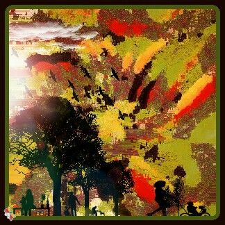 Summers evening walk in the park. Digital abstract art by claudia k @ Grace Infused Art 2015. Created July 3rd 2016.