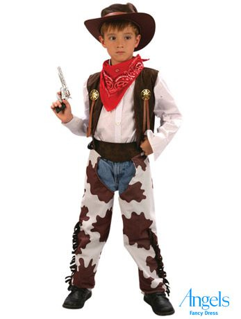 Howdy Partner! This kids cowboy fancy dress costume includes a brown waistcoat, chaps, a bandana and a hat. http://www.fancydress.com/costumes/Cowboy-/0~4496413~141