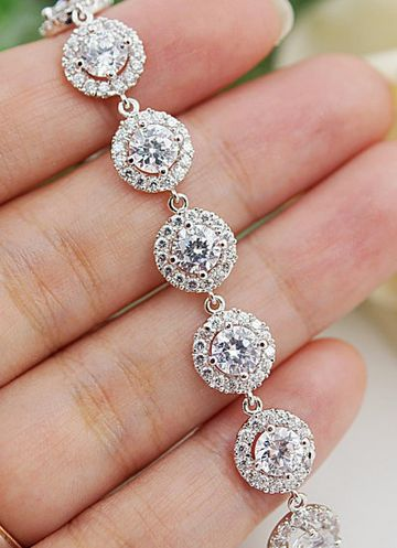 Halo Style luxury cubic zirconia Bridal Bracelet from EarringsNation. Stunning