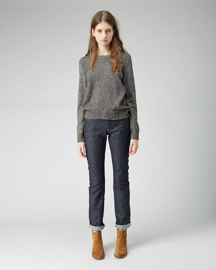 A.P.C. Marin Cable Knit Sweater | New Cure Raw Jean | Ankle boot | La Garçonne