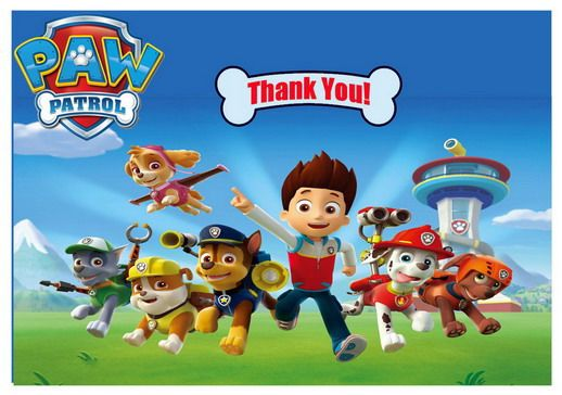 Paw Patrol Thank you Cards – Birthday Printable