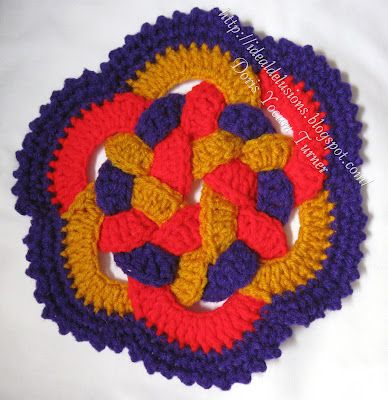 Retro Ring Trivet - this is so fun to make!  I lost the pattern and couldn't figure it out to save me! But ya know the plastic holder that a six pack of soda comes is?  We cut that into six circles and crocheted around each and it makes it much quicker.
