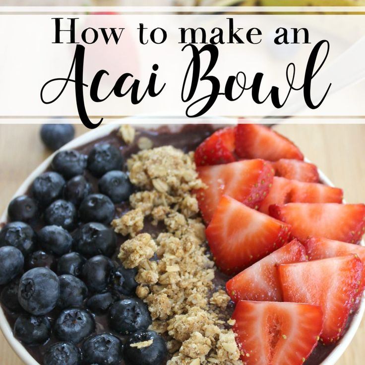 Make your own acai bowl at home with this easy recipe that combines popular fruits with the superfood acai berry puree – it's a creamy, frozen base for your favorite toppings!  When I want to know something health- or food-related, I write about it. I did this with smoothie bowls, cold brew coffee, counting macros, mason jar salads, how to tell if fruit is ripe, and so on. Research is my friend. Most recently, I've been wondering, how on God's green earth do people actually make acai bowls?…
