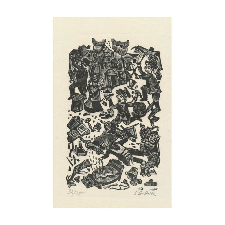 Woodblock Print by Ilya Schor - Sydney Jewish Museum