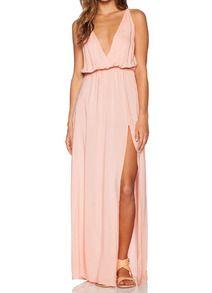 Pink Deep V Neck Split Maxi Dress