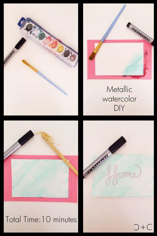 Watercolors & Metallic Paint Pen DIY for the home