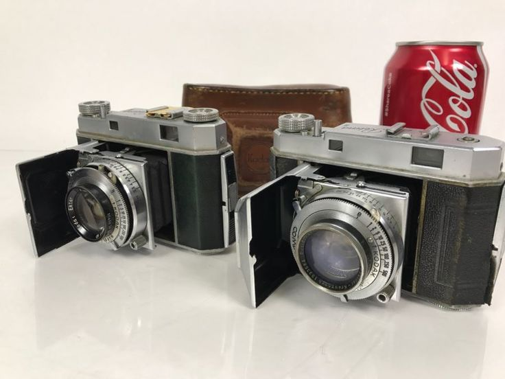 Pair Of Vintage Kodak Retina II Bellows Cameras One With Leather Camera Case
