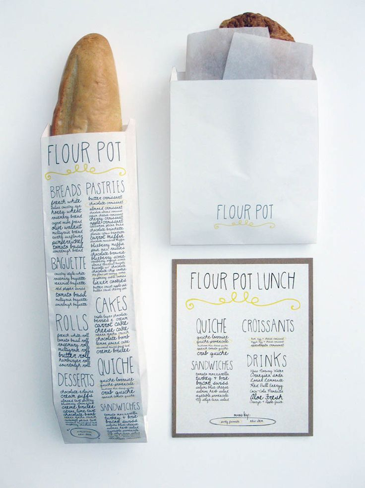 The Flour Pot Bakery - IdentityMenu Design, Food Packaging, Bakeries Packaging, Graphics Design, Breads, Fonts, Flour Pots, Hands Drawn, Bags
