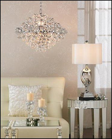 old Hollywood style decorating ideas - mirrored finishes, crystal chandy, tone-on-tone wp, ivory leather sofa. Layering tones of the same color makes a room polished and super glam.