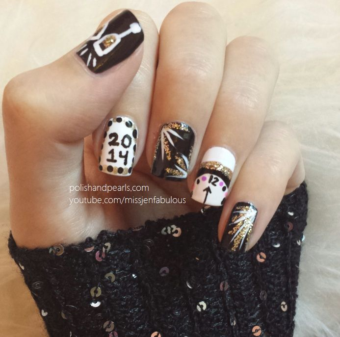 Champagne glasses, fireworks, a clock striking midnight!!! This New Years Eve Nail Art has you covered.