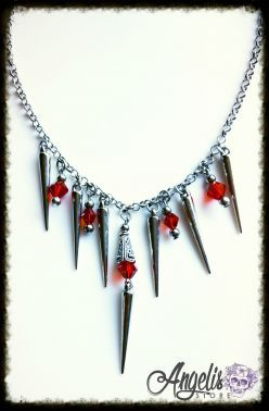 Gothic Vampire Spike and Red Bead Necklace