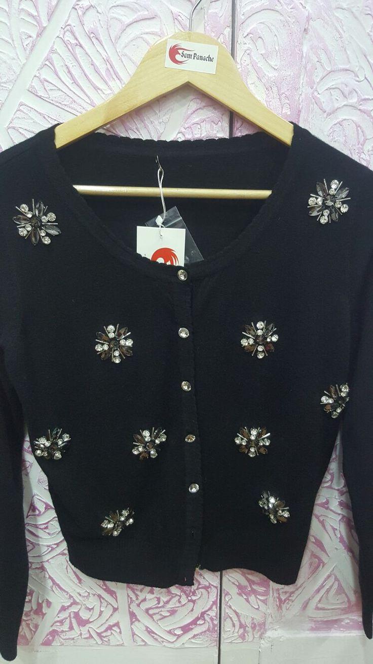 Studded flower cardigan
