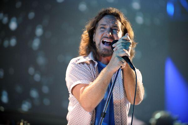 Eddie Vedder of Pearl Jam performs in Los Angeles, California.