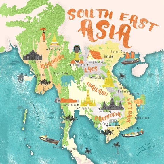 Illustrated Map Of South East Asia Thailand Vietnam Cambodia Etsy In 2020 East Asia Map Illustrated Map Asia Map