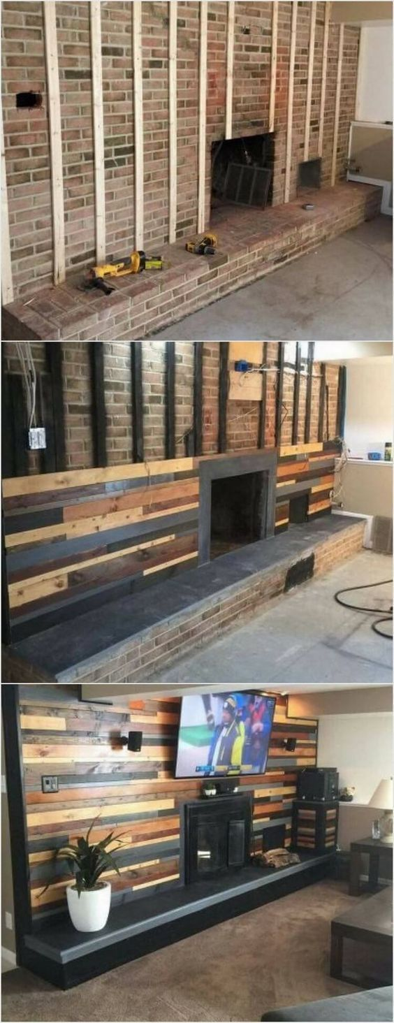 First we have the unique looking wood pallet wall paneling fire place! This idea is best to add your living room area with the creative impressions. The length of the fire place depends on your needs and requirements. To can even paint the wood pallet with interesting paint colors of chocolate brown, black or light brown. #livingwall