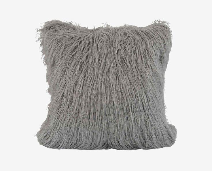 Boras 18 X 18 Mongolian Fur Pillow - Grey
