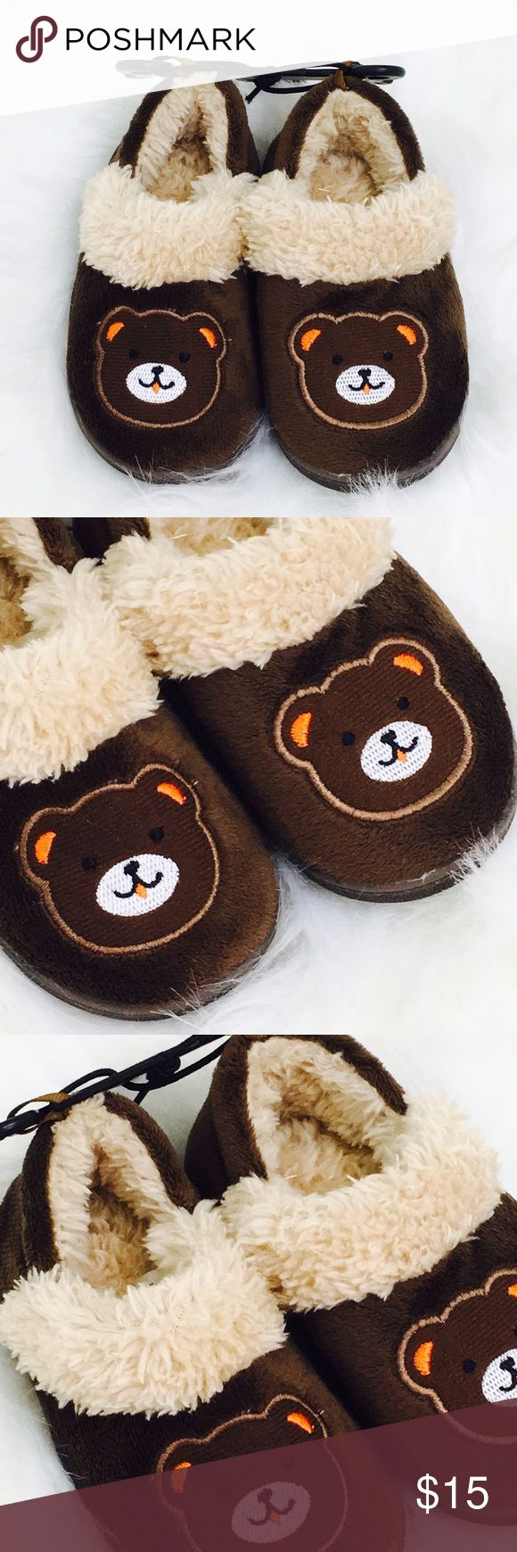 🆕 Boys Brown Teddy Bear Slippers! 🆕 Size small 5-6 Toddler Boys! Shoes Slippers