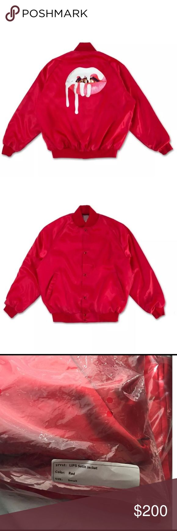 AUTHENTIC Kylie Jenner Lips Satin Bomber Jacket AUTHENTIC Kylie Jenner Lips Satin Bomber Jacket  Red - Size Small SOLD OUT on Kylie Jenner Shop website 100% Authentic-  comes in original packaging - Standard Fit - Satin Polyester  - Patch sewn on back  - Woven Label - Designed in Calabasas  - Made in USA Kylie Cosmetics Jackets & Coats