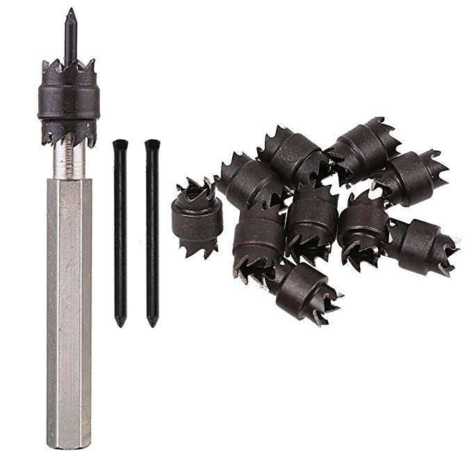 13pcs Double Sided Rotary Spot Weld Cutter Sets 3 8 Hss Spot Weld Cutter Remover Drill Bits Hex Sheet Metal Hole Cutter Remover Metalworking Tools W Replacme Metal Working Tools Spot Welding Metal