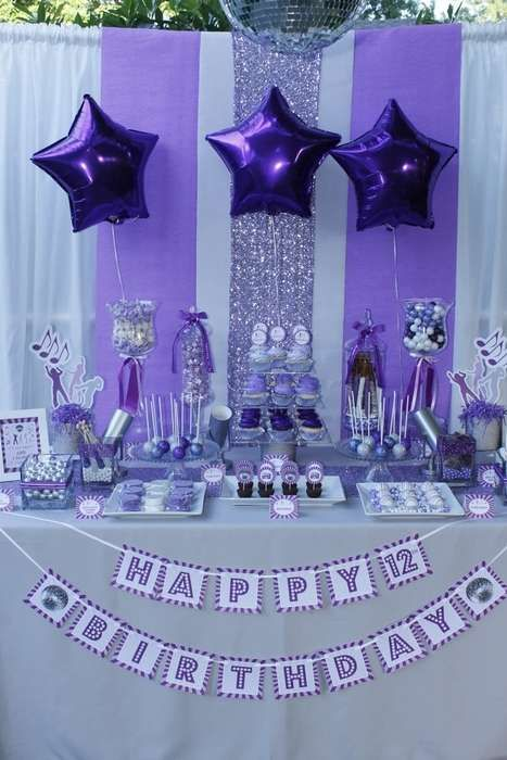 Gorgeous dessert table at a dance birthday party!  See more party planning ideas at CatchMyParty.com!