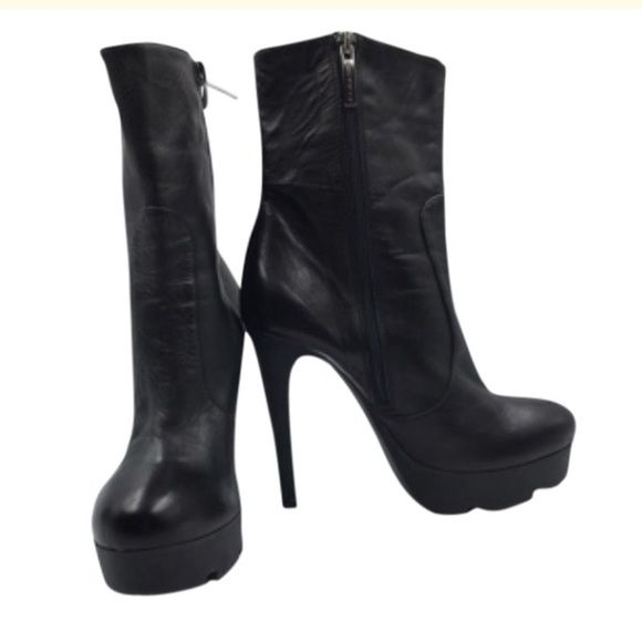 Albano black ankle boots Black leather ankle boots Albano Shoes Heeled Boots