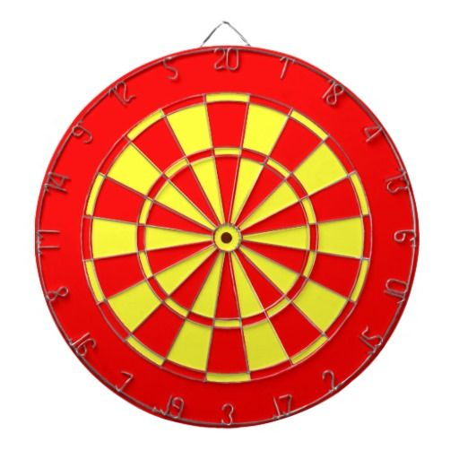 Red and yellow dart board