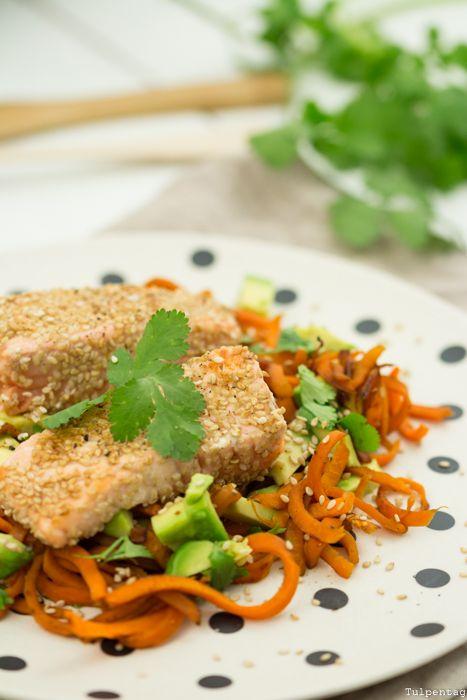 Lachs Sesam Low Carb Gemüse Rezept