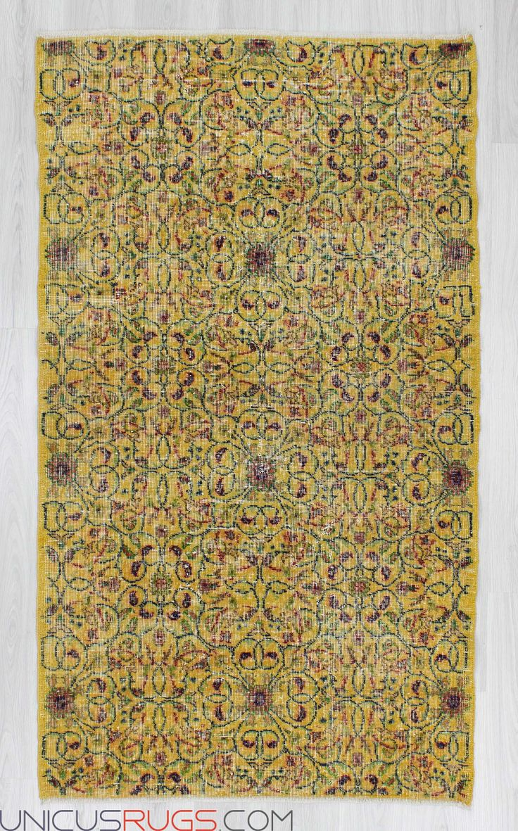 """Vintage rug from Isparta region of Turkey. In good condition. Approximately 50-60 years old. Width: 3' 10"""" - Length: 6' 9"""" Vintage Art Deco Rugs"""