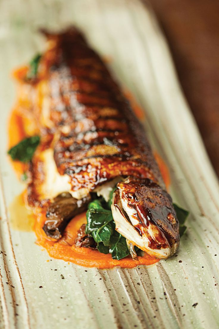 TOMATO FENNEL LEMON THYME-GLAZED GRILLED WHOLE TROUT with CARROT PUREE, SPINACH & SPATZLE [saveur]