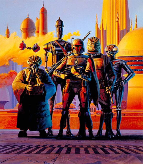 Ralph McQuarrie--The Empire Strikes Back production painting: The Bounty Hunters