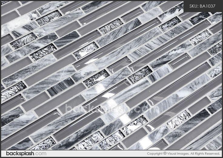 grey backsplash | Gray Marble & Glass Kitchen Backsplash Tile