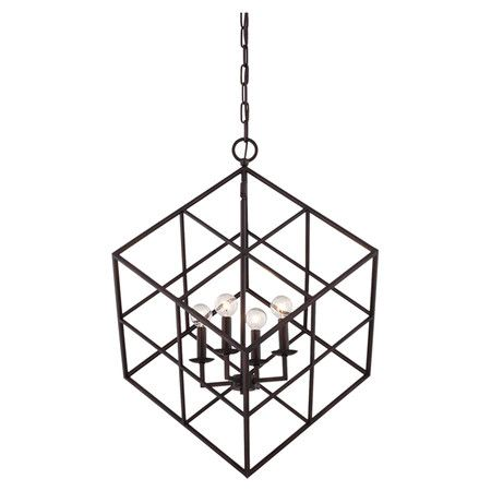 Brimming with distinctive style for your foyer or kitchen, this sculptural pendant features a candelabra-inspired design inside an openwork metal cube.