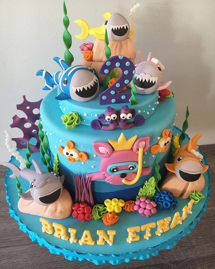 Baby Shark Cake Shark birthday cakes, Baby first