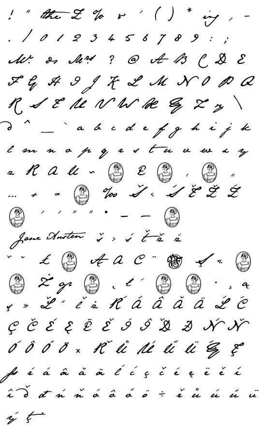 Mapa fontu Jane Austen