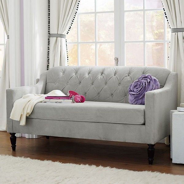 PB Teen Bedroom Soffette, Grey Velvet at Pottery Barn Teen - Sofas -... ($639) ❤ liked on Polyvore featuring home, furniture, sofas, couch, grey, gray sofa, grey velvet sofa, tufted couch, velvet tufted sofa and button tufted sofa