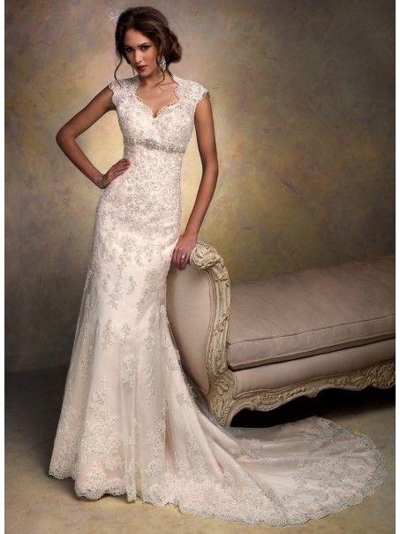 Modest Sheath / Column Court Train Lace Vintage Wedding Dresses 801065. SO PRETTY!