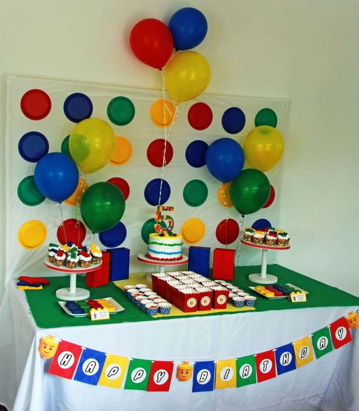 Colorful dessert table at a Lego birthday party! See more party ideas at CatchMyParty.com!