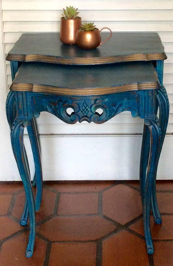 Blue French Nesting Tables 1940s