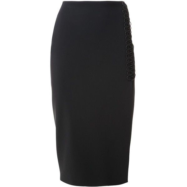 Dion Lee laced detail pencil skirt (834,340 KRW) ❤ liked on Polyvore featuring skirts, black, high-waisted pencil skirts, side slit pencil skirt, high waisted pencil skirt, high waist knee length pencil skirt and knee length pencil skirt
