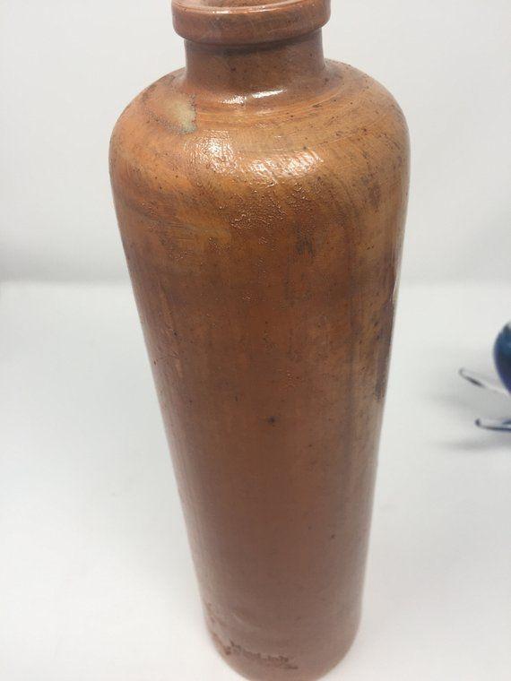 Antique German Ceramic Stoneware Clay Bottle Jug Marked Mind