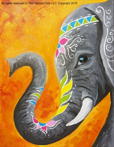 Folsom Studio 2/6: Jaipur Elephant ~ SUPER SPECIAL! ~ $10 OFF!-3-4 Hour Class (Ages 21+)