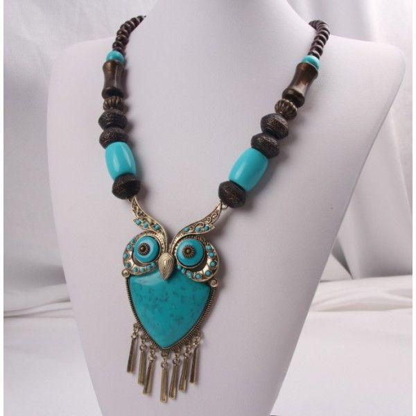 etno náhrdelník so sovou tyrkysový 56 cm